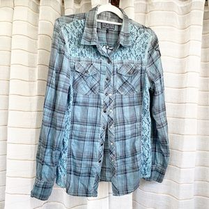 New Affliction Plaid Lace Button Down Shirt